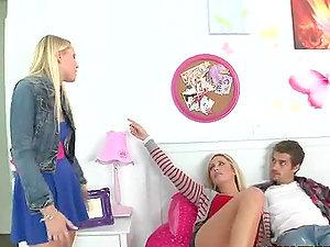 Two Hot Blondes Share A Big Milky Pulsing Jizz-shotgun