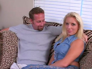 Adorable Maggie gets fucked from behind on a sofa