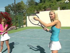 Three hot chicks have g/g fuck-a-thon outdoors after playing tennis