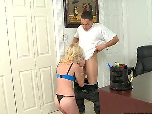 Brie Turner gives a oral pleasure and gets fucked on a desk