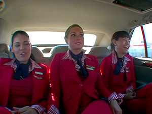 Three sexy femmes in uniform get their butts fucked