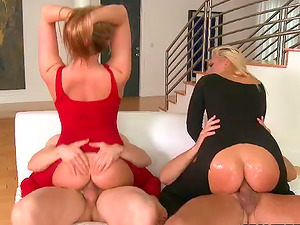 Two Pretty Honies Get Their Booties Fucked in CFNM 4some