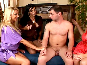 Steamy CFNM Group Bang-out Soiree with Three Lustful Cougars