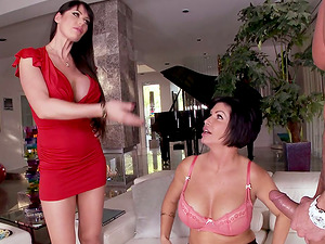 We got a wicked threesome going on here with some hot cougars, nice clean-shaven vagina and more