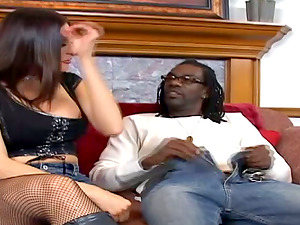Sheila Marie deep throats a black sausage and gets her crevasses smashed