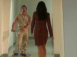 brunIndia Summer Gets A Taste Of A Horny Janitor's Shaft