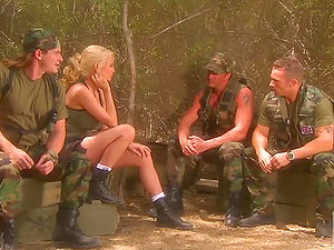 Buxomy Cadet Devon Lee Has Interracial Threesome With Her Comrades