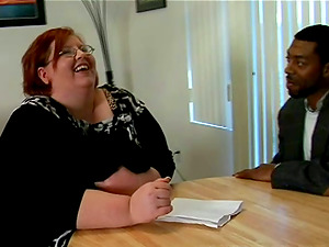 Whorish red-haired BBW gets fucked by a Black dude
