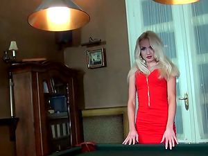 Sexy titless blonde Victoria blows and gets fucked in standing position