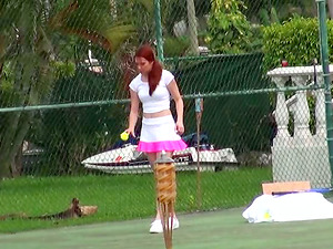 Red-haired Melody Jordan plays tennis and then gets rammed