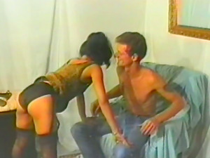 Retro porno with a charming Asian hookup doll