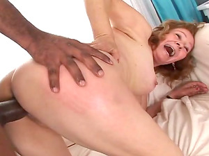 Mature bi-atch gets fucked and creampied by Black guys