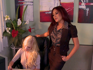 Horny And Nasty Lesbos Pleasing Each Other In Office
