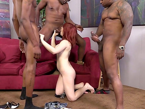 Interracial Group sex with a Wild Sandy-haired Cougar in the Center