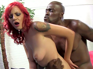 Lustful Sandy-haired Honey Gets Fucked Hard By Big Black Man sausage In Her Asshole