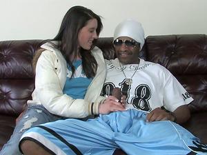 Smoking hot dark-haired is hopping on her black man