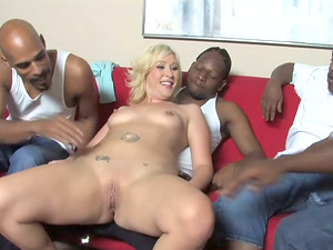 Milky Cougar Gets Ass fucking from Two Strung up Black Studs