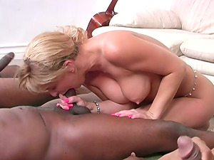 Hot Cougar With Big Tits Gets Group-fucked By Few Black Dudes