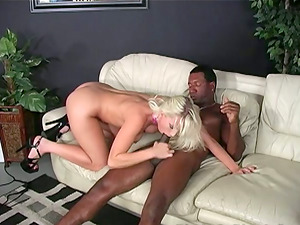 Blonde with Big Tits Loves Railing Some Big Black Hard-on