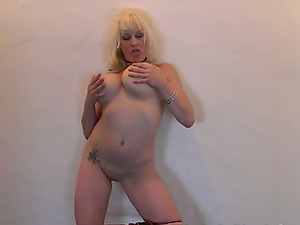 Buxom blonde skank Kat gets sandwiched by two black studs