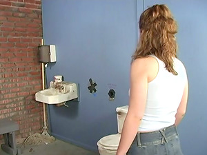 Horny Brown-haired Sucking Penis And Gulping Sperm In The Rest room
