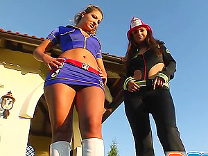 Sexy bitches Candy and July share the jizz which they get in FFM scene