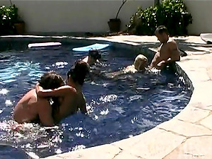 The Steel Women, Krystal and Sydnee are So Hot! Poolside Rimjobs and Group Activity!