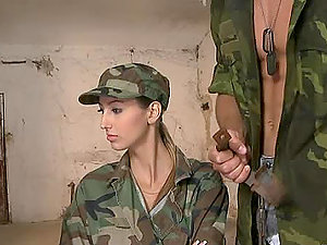 One Army Chick Fucked By Two Army Guys