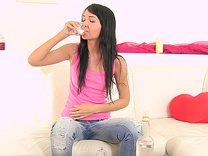 Lovely Mistica urinates in a glass and drinks it like a water