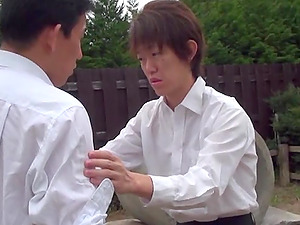 Japanese hussy shows her tits and rails a man rod outdoors