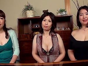 Three chesty Japanese moms let a man have fun with their big natural tits
