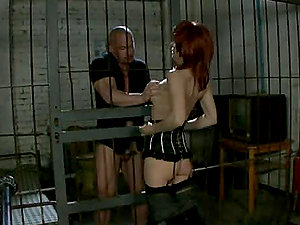 Ginger-haired Nina Stein fucks with her spouse in a jail