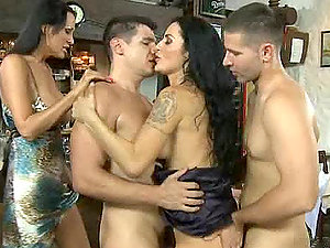 Two hot brunettes get spunk on their bungholes in 4some reality