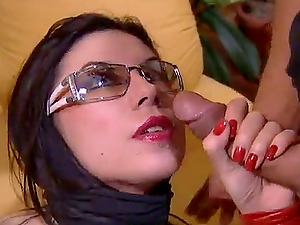 Curvy dark-haired with puny tits being banged gonzo before guzzling jism