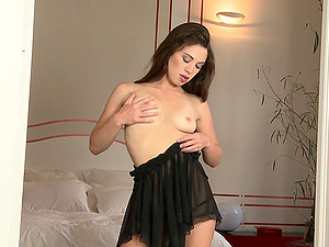 Beautiful Solo Model Stimulated As She Fondles Her Natural Tits