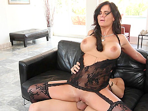 Huge-titted brown-haired siren is railing that large one in stockings