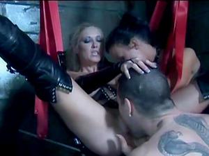 Randy xxx chicks in FFM fetish threesome in leather fucking