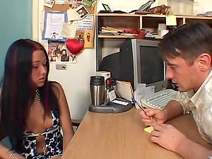 Bootyful dark haired skank Patricia Petite gets her both slots jammed