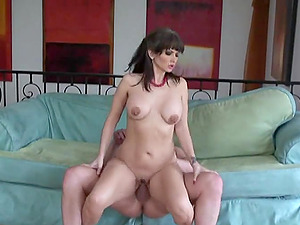 Attractive dark haired with faux tits masturbating before getting drilled xxx