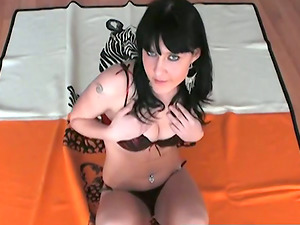 Thia masturbates with a fuck stick after taking off her underwear