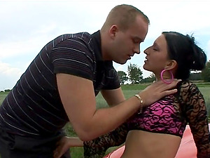 Fledgling Stunner In Fishnet Pantyhose Gets Screwed On Top Of A Car
