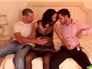 Nylon Wearing Ultra-cutie Has a Threesome with Two Guys