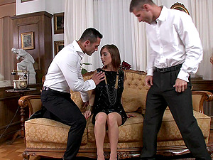 Tina Hot gets two gents's shaft banging her ass-fuck gonzo