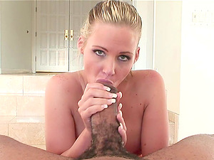 Phoenix Marie gargles on a black monster manstick in Point of view