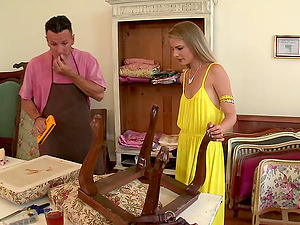 Cayenne Klein entices a repairman and fucks him on the table