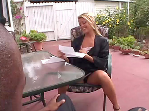 Hot Blonde Cougar In High Stilettos In Interracial Act Getting Hammered