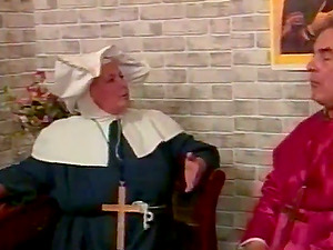 Nasty mature nun gets spanked by an old man indoors