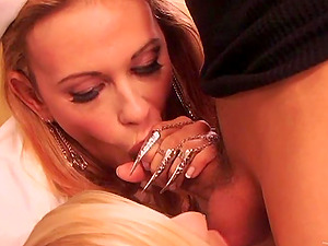 Insatiable blonde nurses share a dude's big man sausage in a threesome