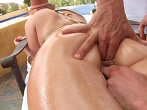 Two fellows are going to bang this oiled up booty
