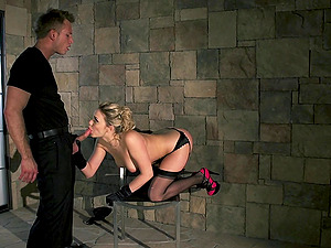 Stunning cowgirl in high high-heeled slippers providing massive dick oral job in reality shoot